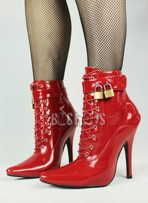 ФОТО Women Sexy High Heel Ankle Boots with Lock Lace-up Patent Leather Boots Autumn Short Boots Wedding Shoes Women Botas Size 36-46