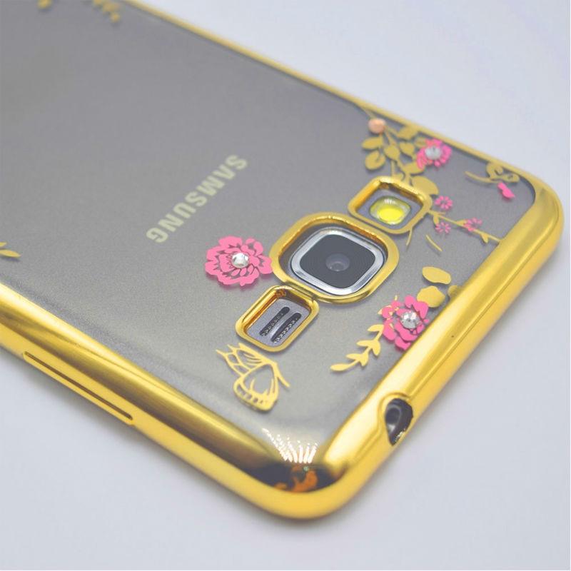 Lyxig blomma diamantplätering stötfodral fodral fodral för Samsung - Reservdelar och tillbehör för mobiltelefoner - Foto 2