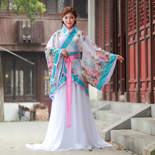 662adcc03 High end Chinese Traditional Women Hanfu Dress Chinese Fairy Dress Red  White Hanfu Clothing Tang Dynasty