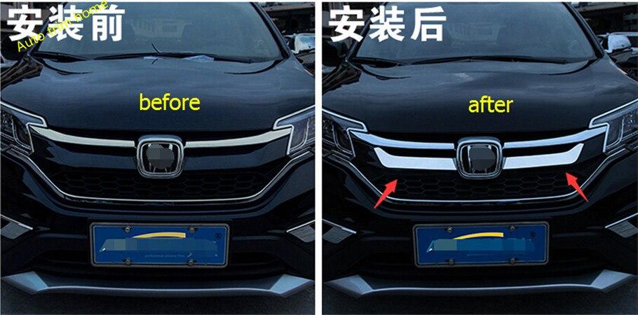 Для Honda CRV CR-V 2015 2016 Нержавеющая сталь Передняя решетка Гонки решетка крышки Внутренняя отделка