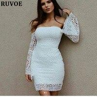 Seksi Beyaz Dantel Bandaj Elbise Kadınlar Bahar Yüksek Bel kapalı omuz slash boyun Zarif Noel kısa mini Elbise Vestidos