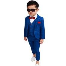 Kids Formal Blazer Vest Pants Suits Sets Boys Wedding Party Prom Piano Performance Costume Children Tuxedo Dress L11