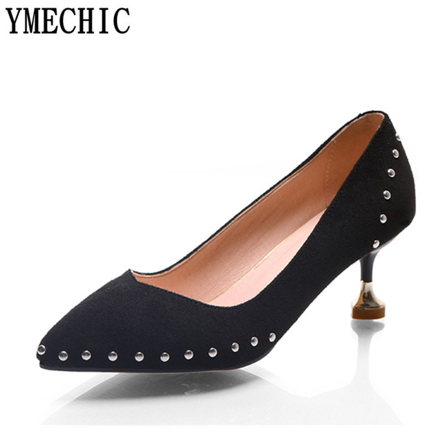 2b7b545e0141dc YMECHIC Süße Reizende High Heels Mit Nieten Nieten Rosa Schwarz Damen hohe  Schuhe Größe 43 45