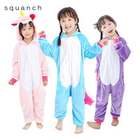 Unicorn Onesie Kids Animal Cartoon Pajamas Boys Girls Children Sleepwear Winter Warm Flannel Totoro Panda Pikachu