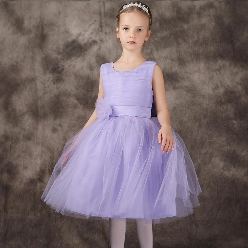 Sweet Purple Girls Dresses With Kow In The Back Flower