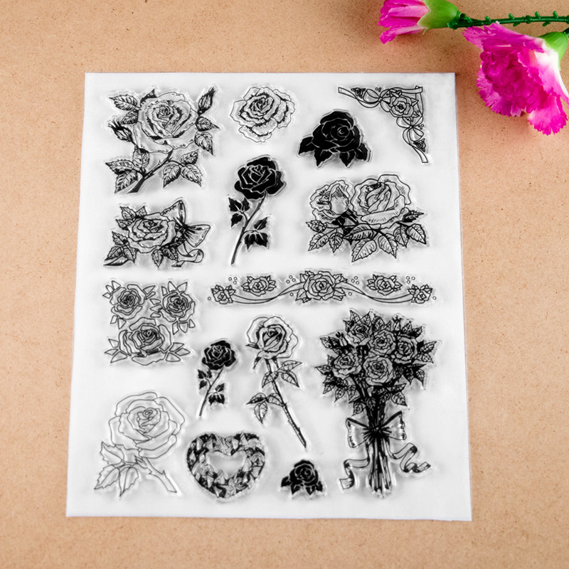 2017 new 15x18cm Flower Scrapbook DIY Photo Album Account Transparent Silicone Rubber Clear Stamps