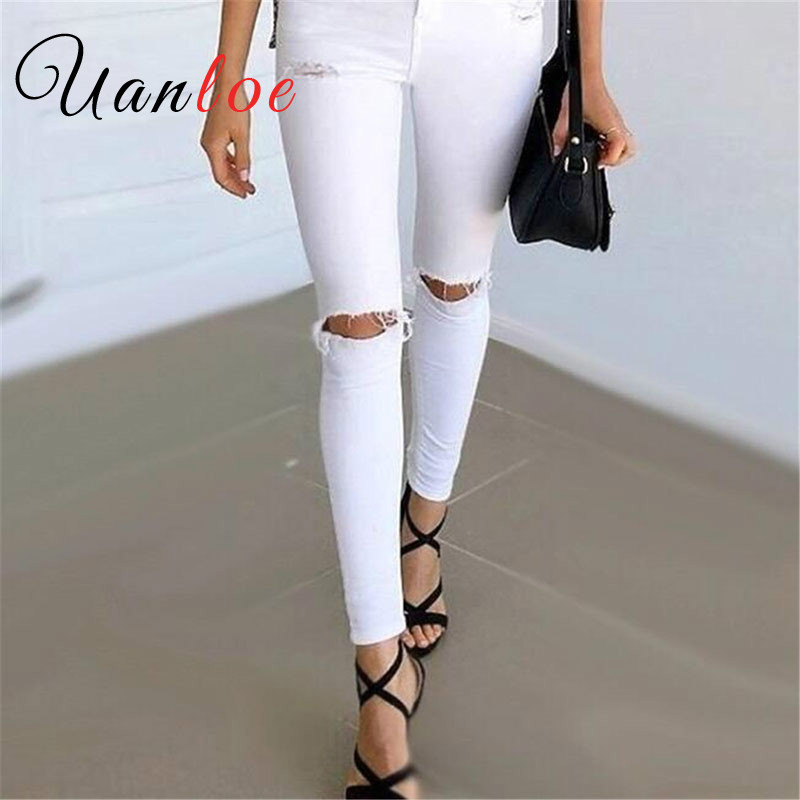 UANLOE 2017 Autumn White Hole Ripped Jeans Women Jeggings Cool Denim High Waist Pants Capris Female Skinny Black Casual Jeans summer boyfriend jeans for women hole ripped white lace flowers denim pants low waist mujer vintage skinny stretch jeans female