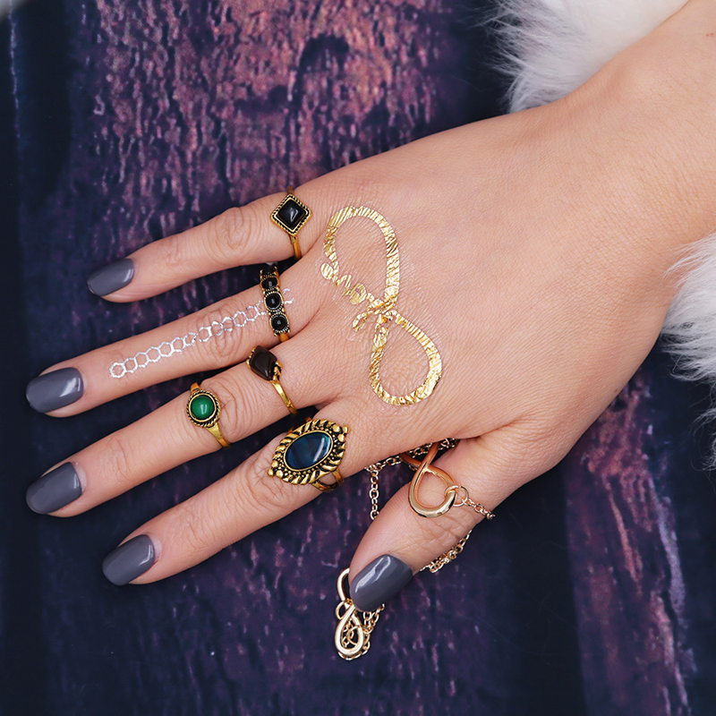 1sets=5pieces New fashion accessories vintage gold color blue mix shape finger ring set for women girl nice gift j-188