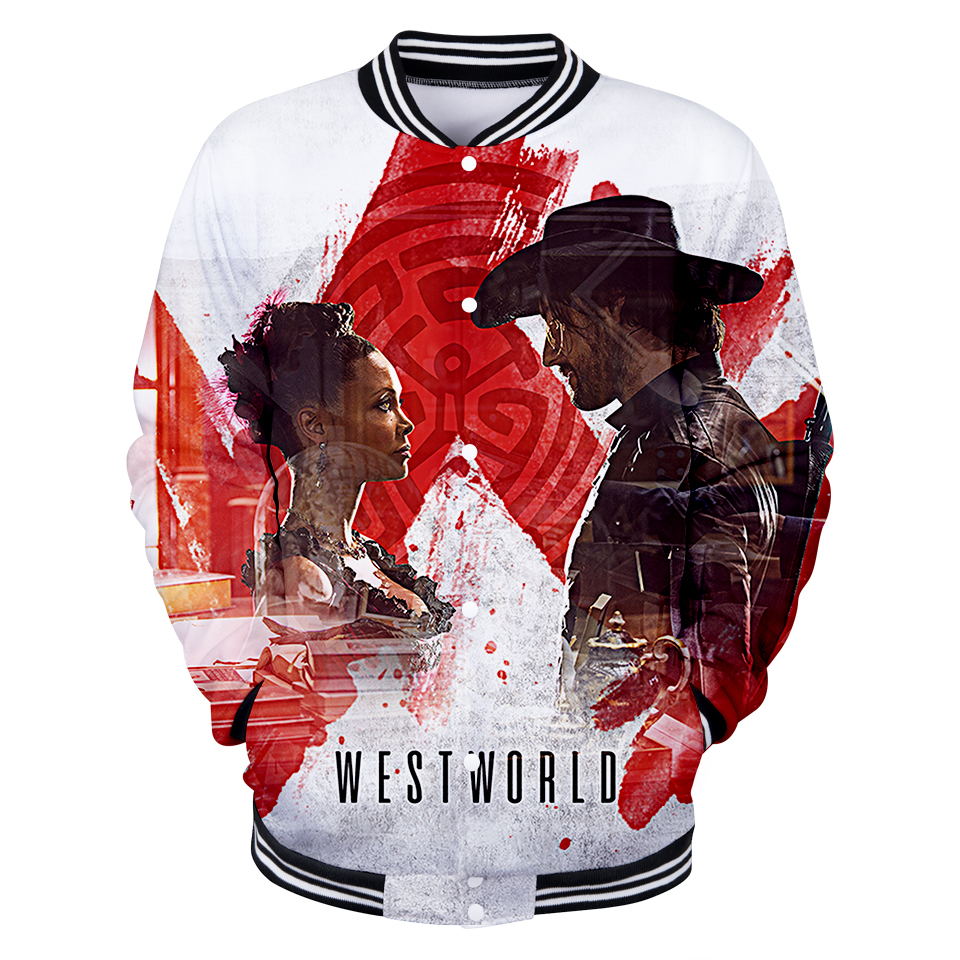 2018 New 3D WESTWORLD Design Fashion Baseball Jacket Men/Women Winter Coat Polyester Sweatshirt Hip Hop Plus Size Hoodies