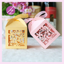 50pcs/lot free shipping latest design laser cut pretty flower wedding supplies souvenirs box chocolate box paper bags TH-34(China)