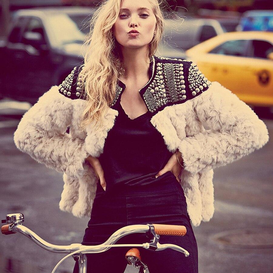 TEELYNN 2019 winter warm women Faux Fur Coat hand-made beading rivet long sleeve boho overcoat female fur coat jacket outerwear