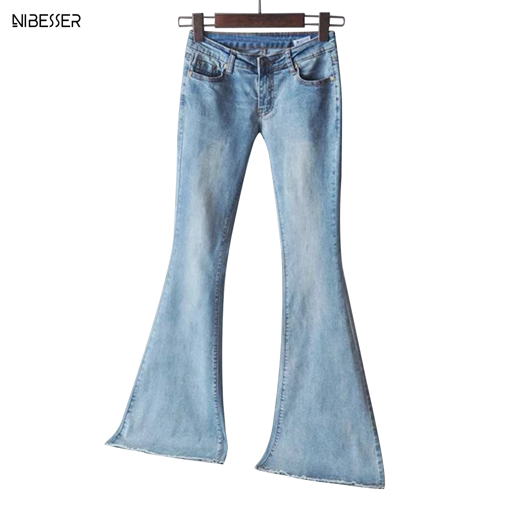 NIBESSER 2019 New Spring Women Blue Mid Waist Flare Bell Bottoms Ladies Sexy Stretching Jeans Fashion Wide Leg Denim Trousers