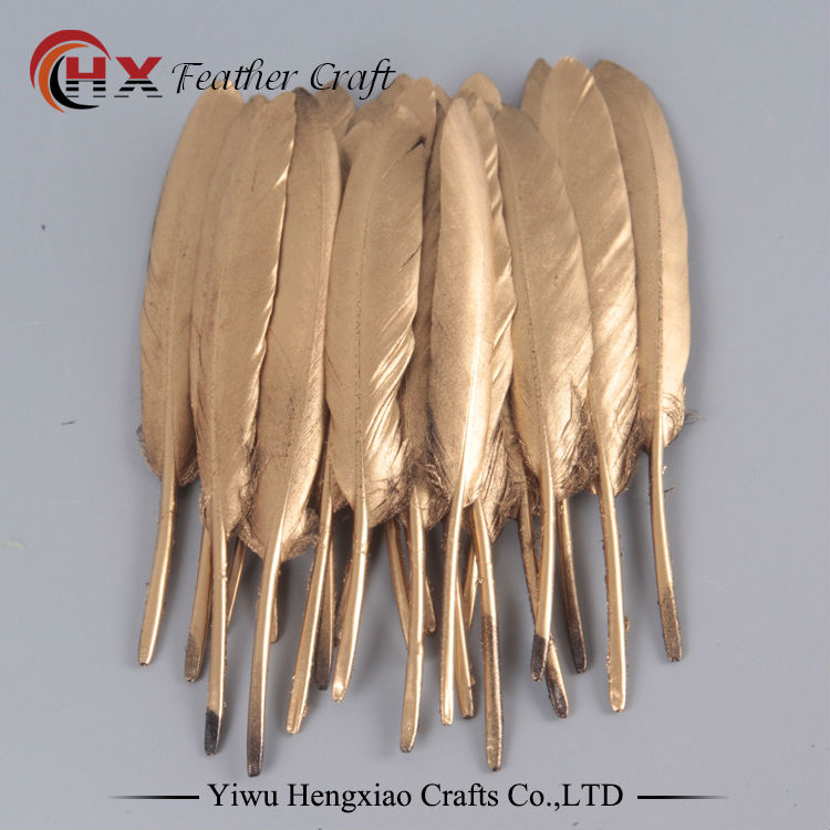10-15cm(4-6inch) Carefully Crafted Gold Metallic Plume Duck Feather for DIY and Carinival Decoration Feathers