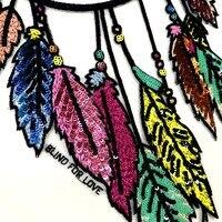 Высококачественные Изящные перья галстуков лист блесток пришить патч большого размера футболка платье аппликация Пальто DIY аксессуары