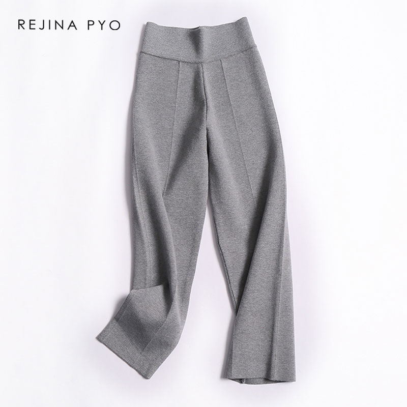 Straight-Pant Active-Wear Stretching Knitted Grey REJINAPYO Ankle-Length High-Waist Office Lady