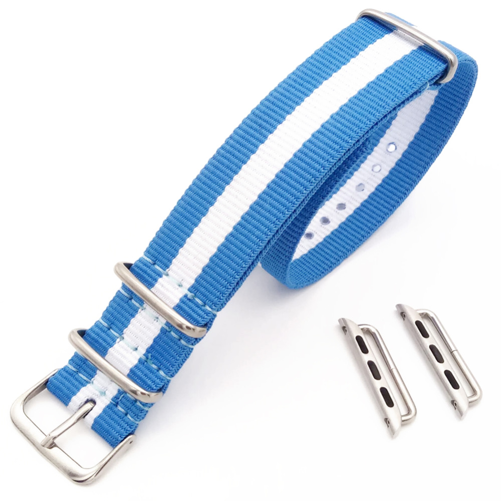 White and Blue For Apple Sport Watch 38mm 42mm Nylon Watch Band Strap And Adapters watchband