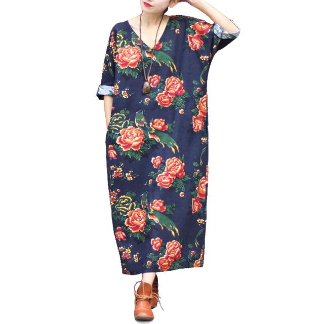 SERENAMENTE As Mulheres Se Vestem 2016 Verão de Linho Com Decote Em V da Cópia Do Vintage Longo-luva Loose-cintura Hem Dividir Longo Maxi Vindima vestido 0144