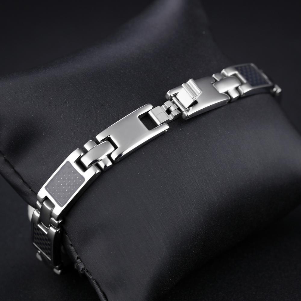 Misheng New Men 39 s Stainless Steel Black 20cm Bracelet Magnet Fiber Geometry Cross Temperament Gift Wrist Jewelry Accessories 9mm in Chain amp Link Bracelets from Jewelry amp Accessories