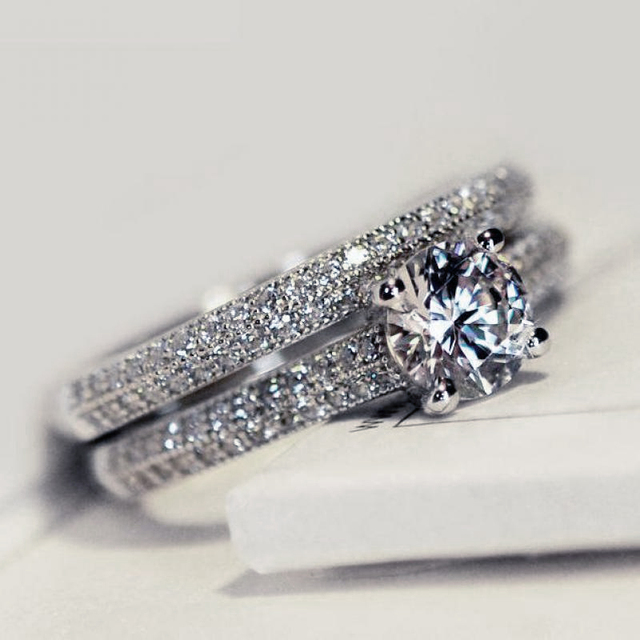 Promise Rings Set For Women Wedding Eternity 1 Carat Cubic Zirconia White Gold Color Engagement