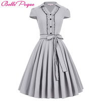 Hot Sale Womens Autumn Amber Vintage Cap Sleeve V Neck High Stretchy Swing Bow Grey Color