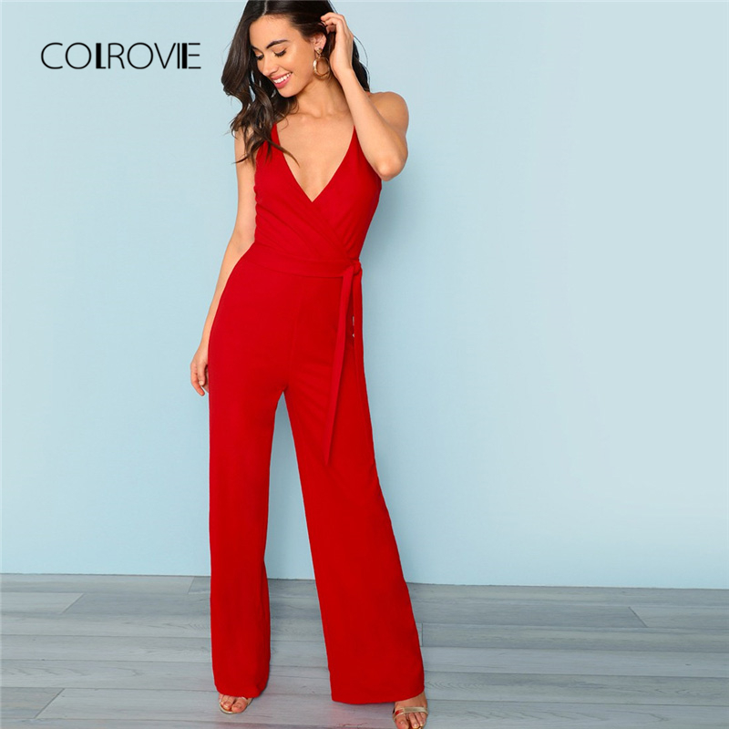 COLROVIE Red Sexy Deep V neck Crisscross Wrap Tie Waist Wide Leg Cami   Jumpsuit   2018 New Autumn Solid High Waist Women   Jumpsuits