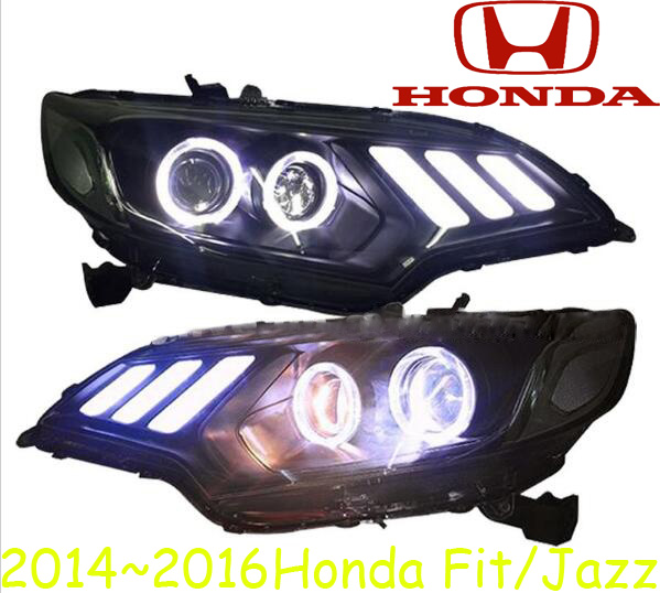 Car Styling Head Lamp for FIT JAZZ Headlights, LED DRL Daytime Running Light Bi-Xenon Lens HID Accessories,Fit headlight