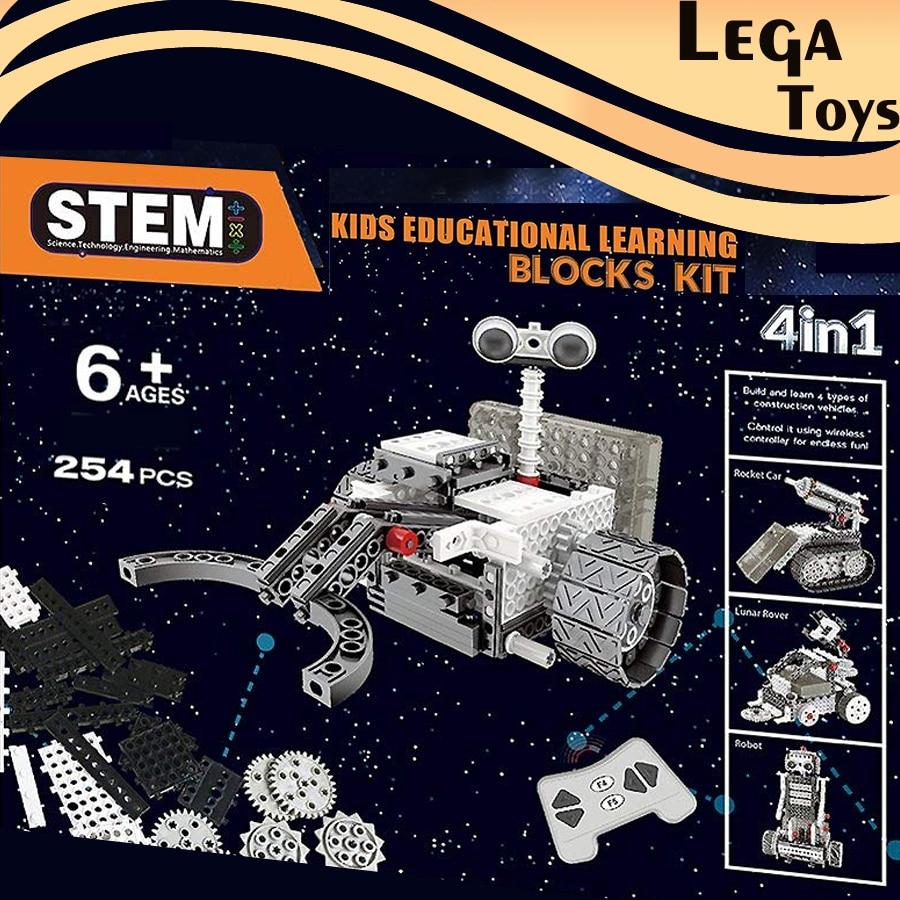 Bricolage 4-en-1 espace Robot Exploration ensemble télécommande blocs Construction robotique Vechicle motorisé tige modèle éducatif kit