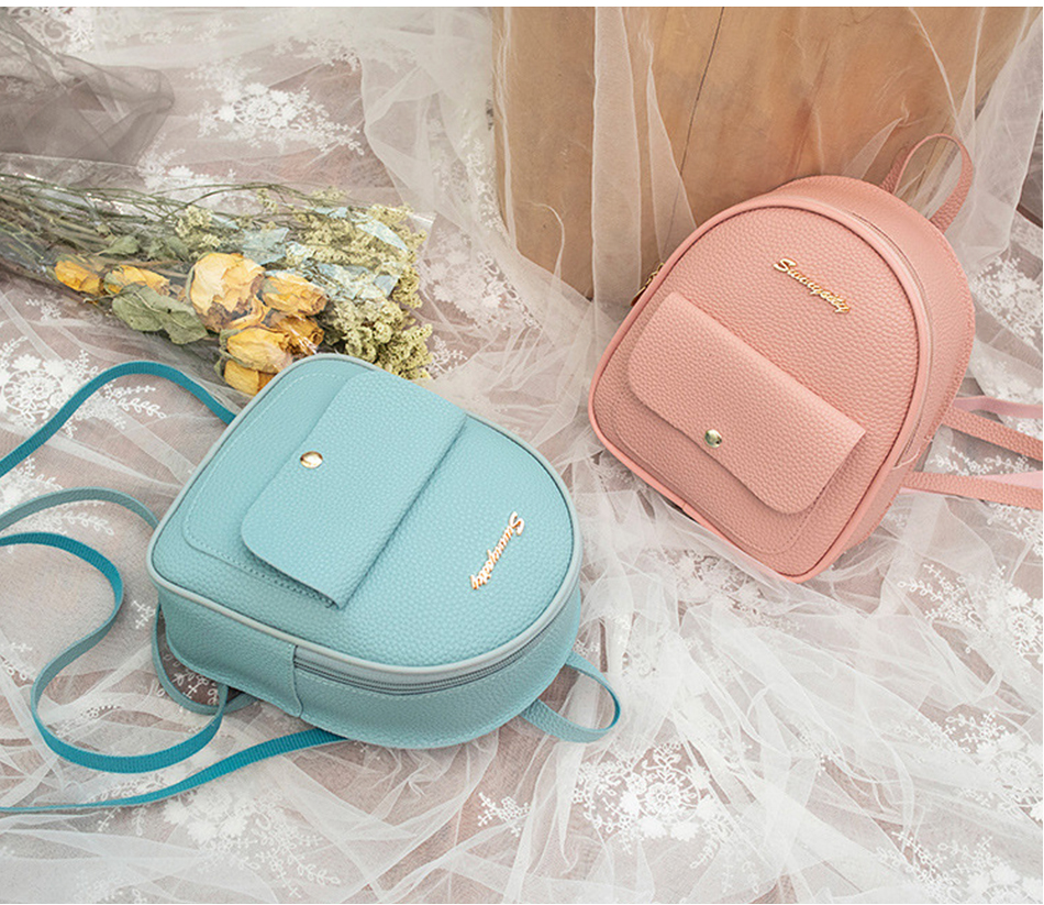 HTB1risPXBGw3KVjSZFwq6zQ2FXac 2019 Mini Backpack Women Korean Style PU Leather Shoulder Bag For Teenage Girls Multi-Function Small Bagpack Female Phone Pouch