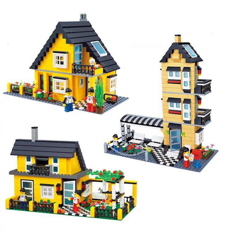 WANGE Villa Series Small Action Model Building Block Set Brick Collectible Classic Educational Toys DIY Gifts For Children wange city fire emergency truck action model building block sets bricks 567pcs classic educational toys gifts for children