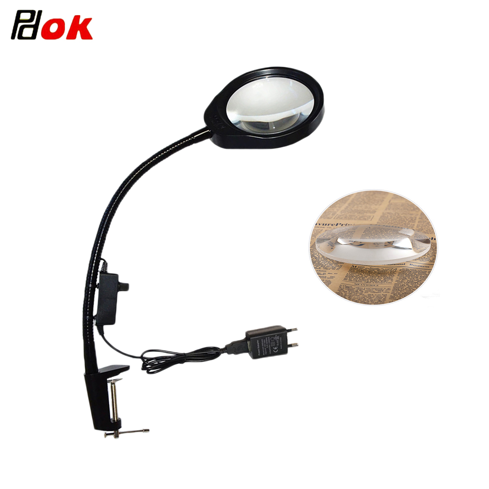 Clip on 10X 20X Magnifying Glass Lamp Adjustable Brightness LED light for Electronic Maintenance Jewelry Identification Beauty in Magnifiers from Tools