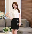 Summer Formal Office Uniform Designs Women Business Suits with Two Piece Skirt and Tops Sets Ladies Blouses & Shirts OL