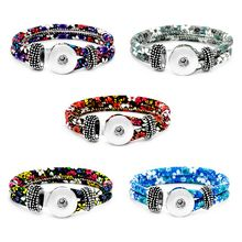 Unisex Bohemian 18mm leather-based snap button bracelet flower button bangle Wrist watches for girls ZE046