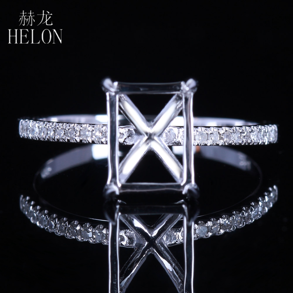 HELON Solid 14K Rose Gold Nouveau Semi-Mount Engagement Wedding Classical Diamonds Ring 8X6mm Cushion / Emerald / Radiant Cut