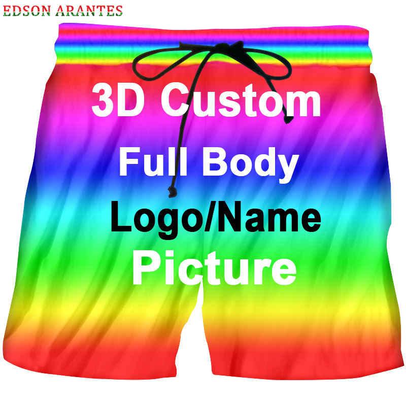 Gepersonaliseerde Custom Board Shorts Unisex Zomer Casual Elastische Taille Korte Broek Custom Logo Tekst 3d Print Strand Shorts