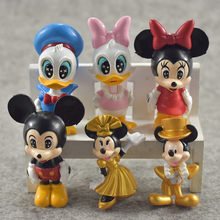Hot Sales 6pcs Cute Mickey Mouse Donald Duck Minnie Cartoon Micro Birthday Toy Action Figures Kids Gifts Toys for children(China)