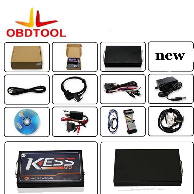 ObdTooL Full Set KESS V2.23 Master KESS V2 V5.017 OBDII Manager Tuning Kit No Tokens ECU Programmer Tool
