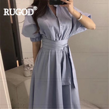 RUGOD Women solid dress vintage turn down collar puff sleeve empire with belt slim long dress new fashion female elegant korean(China)