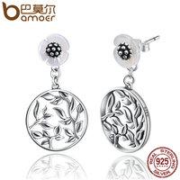 BAMOER 925 Sterling Silver 2 Wearing Style Stud Earrings Bud Flower Earrings For Women Brincos Fine
