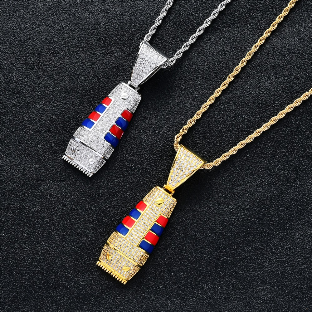 Hip Hop Full AAA CZ Zircon Paved Bling Iced Out Hair Clipper Barber Pendants Necklace for Men Rapper Jewelry Gold SilverHip Hop Full AAA CZ Zircon Paved Bling Iced Out Hair Clipper Barber Pendants Necklace for Men Rapper Jewelry Gold Silver