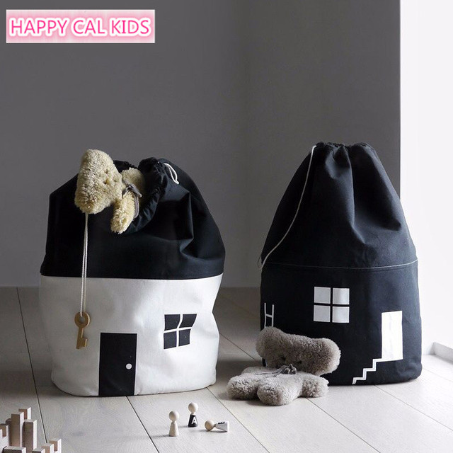 Muslin Life Baby Toy Storage Organizer Nordic Style House Shape Design  Embroidery Kids Storage Basket