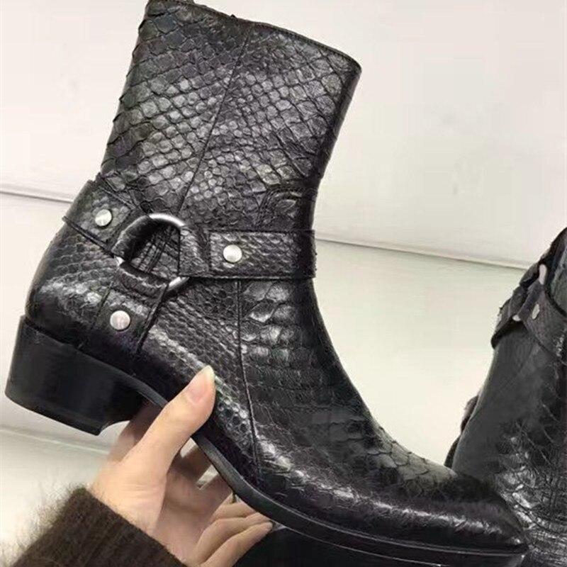 High end handmade custom male font b boots b font Crocodile Pattern Embossed Martin font b