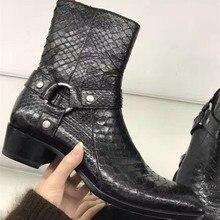 Высокого класса ручной работы на заказ мужские ботинки картины крокодила тиснением ботинки Martin ковбой модный показ ботинки «Челси» BOTY