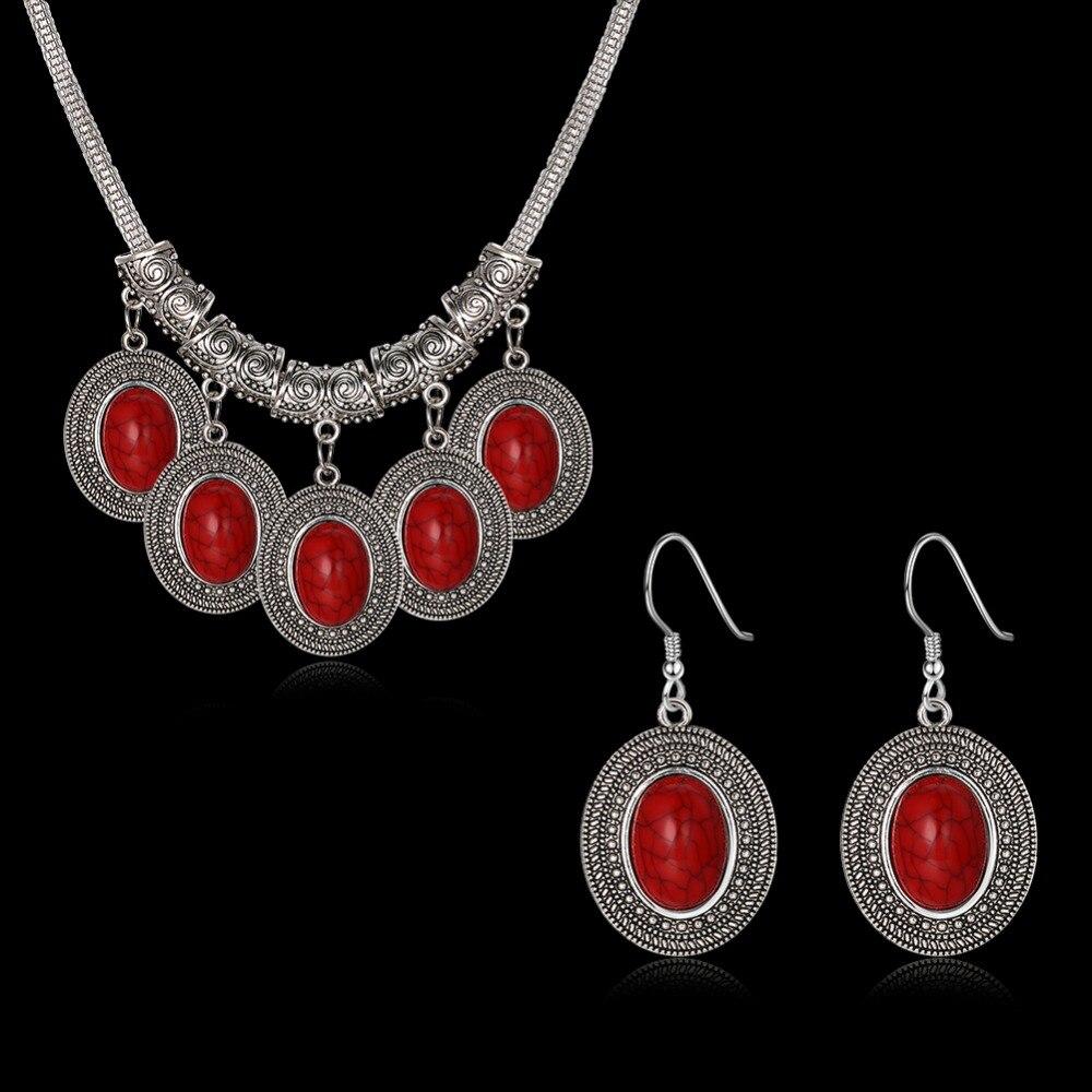 Мода красный кристалл камень свадебные украшения комплект невесты серебро Цепочки и ожерелья Набор для Для женщин комплект ювелирных изде...