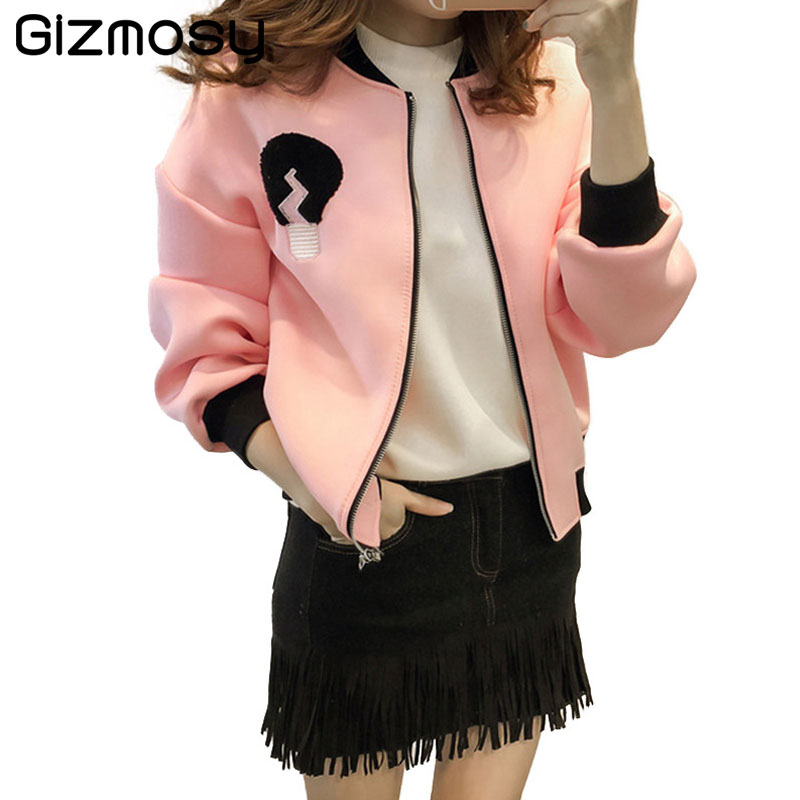 2018 Women Jacket Brand Tops Solid Girl Slim Casual baseball Sweatshirt Zipper Thin Bomber Long Sleeves Coat Jackets SY2312