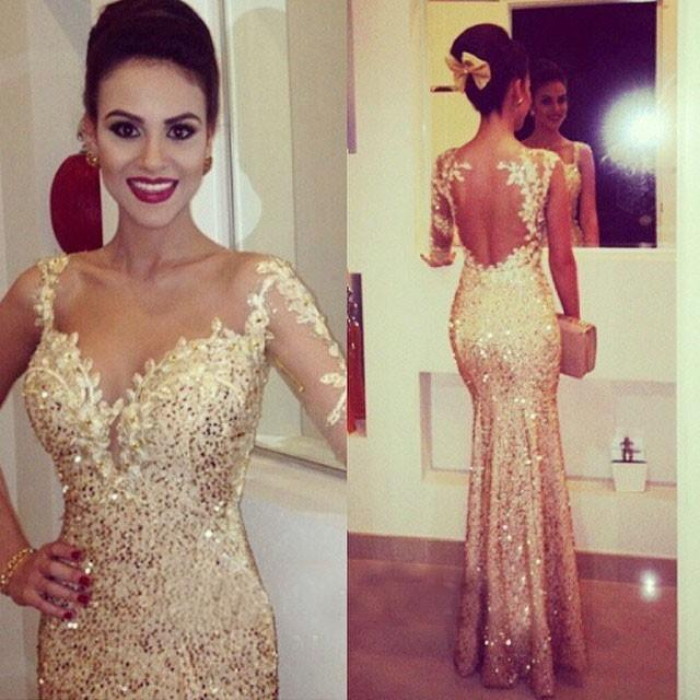 e907677c Mermaid Prom Dresses With One Shoulder Long Sleeves Sweethart Bodycon  Formal Evening Party Gowns Gold Sequined vestido de festa