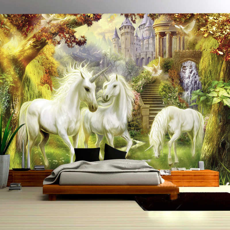 ورق حائط جداري مصمم حسب الطلب على الطراز الأوروبي رسومات جدارية مرسومة يدويًا على شكل وحيد القرن والغابات والقلعة البيضاء على شكل حصان وخلفية لغرفة المعيشة
