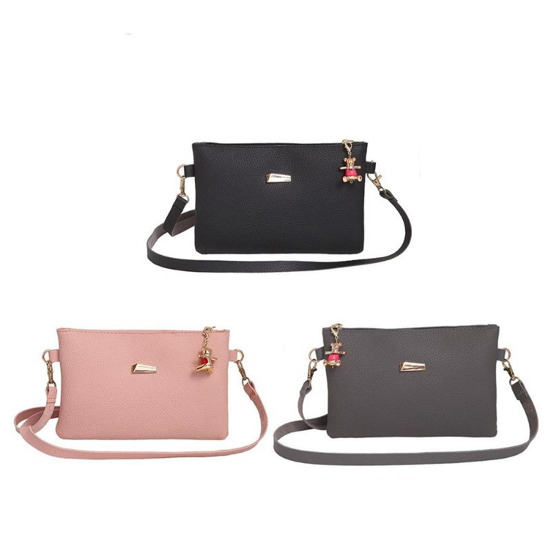Fashion Women\'s Clutch Bag PU Leather Women Envelope Bag Clutch Evening Bag Female Clutches Handbag Crossbody with Bear Pendant hot sale evening bag peach heart bag women pu leather handbag chain shoulder bag messenger bag fashion women s clutches xa1317b