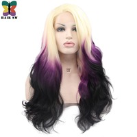HAIR SW Long Body Wave Synthetic Lace Front Wig Ombre Blonde Purple Black Three tone Rainbow Dip Dyed Darg Queen Wig For Women