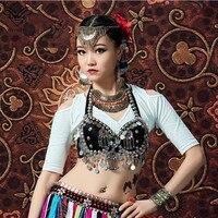 Wechery ATS Bra Halter Crop Tops Belly Dance Wear Rivets Beads Tassels Bras for Women Black Bandages Tops Tribal Gypsy Style