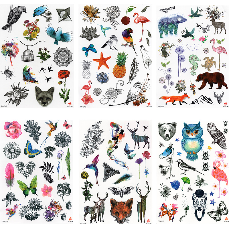 6PCS Bird Temporary Tattoo For Adult Waterproof Tatoo Stickers Body Art Beautiful 3D Butterfly Fake Tattoo For Women